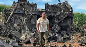 Dwayne Johnson at an event for Rampage