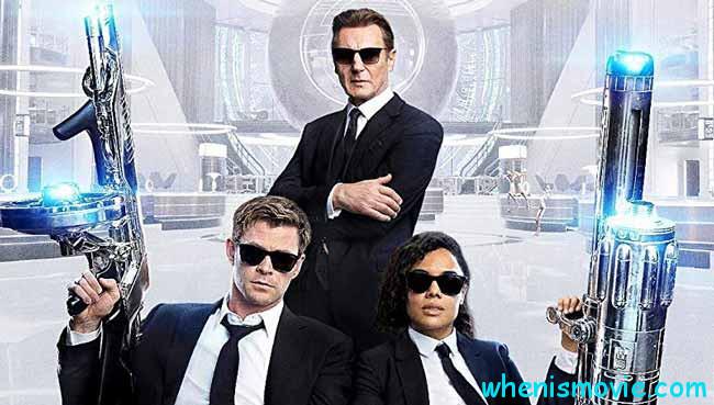Liam Neeson, Chris Hemsworth, and Tessa Thompson in Men in Black: International